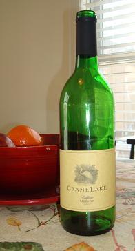 wine bottle, crane lake, merlot